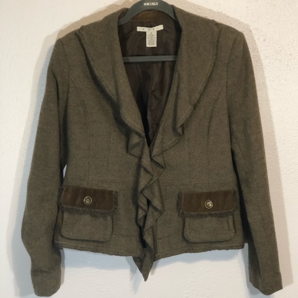 CAbi Jackets & Blazers - CAbi wool blazer jacket ruffle size 8